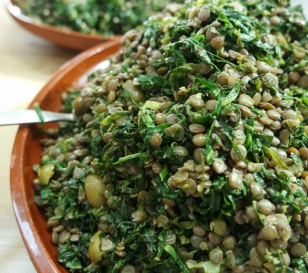 Spring Greens, Lentils and Green Olives