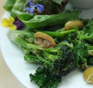Purple Sprouting Broccoli with Sautéed Olives, Lemon & Garlic